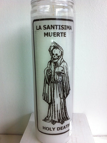 Holy Death (Santa Muerte) 7 Day White Unscented Candle in Glass 1 EA