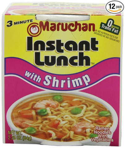 Maruchan Instant Lunch, Shrimp, 2.25-Ounce Packages (Pack of 12) 1 CASE