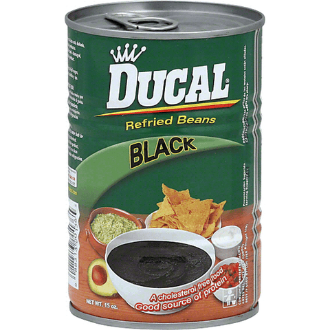 Ducal Refried Beans, Black 15 OZ