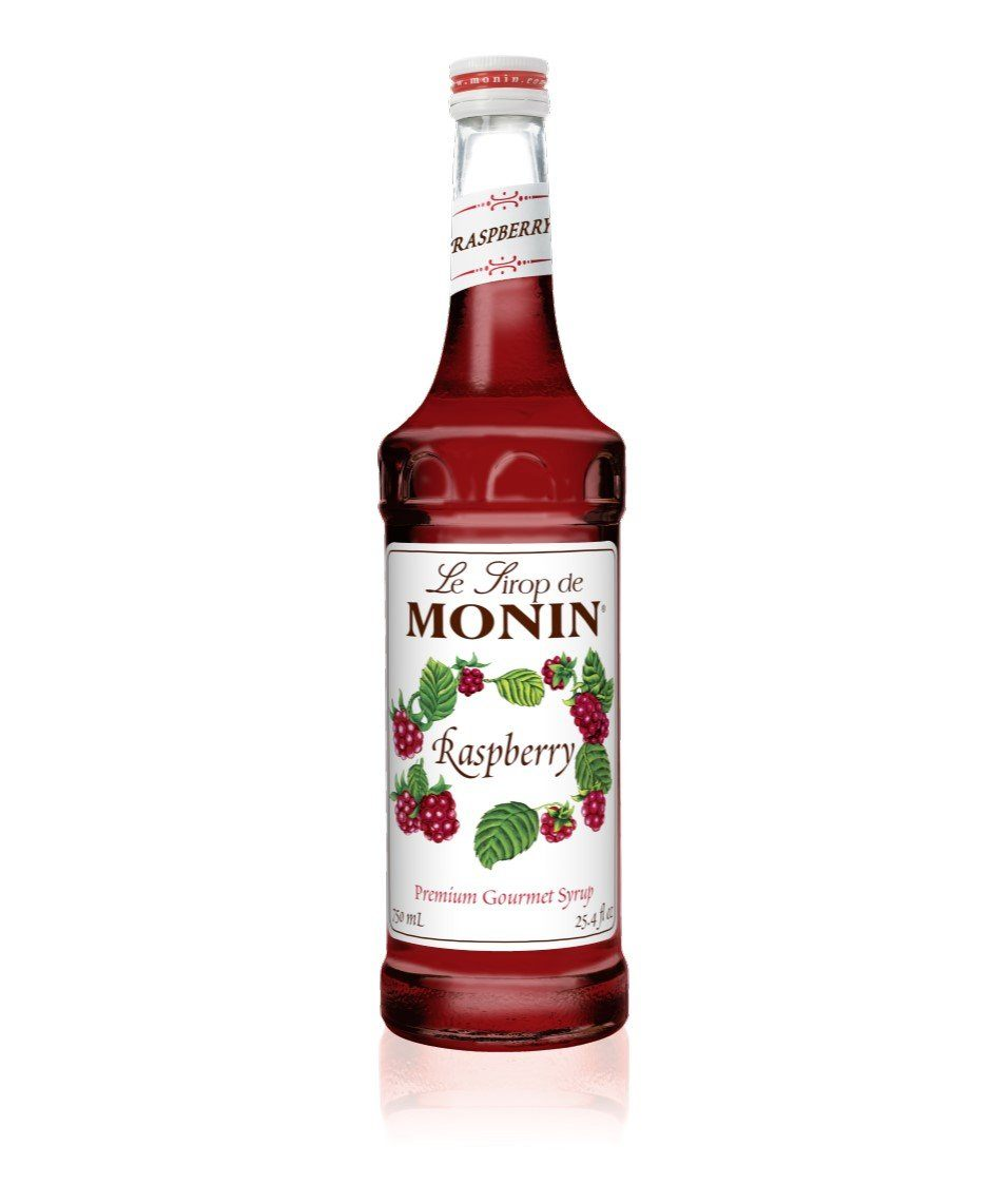 Monin Premium Raspberry Syrup 750ml/25.4 FL OZ - Beverage Solutions