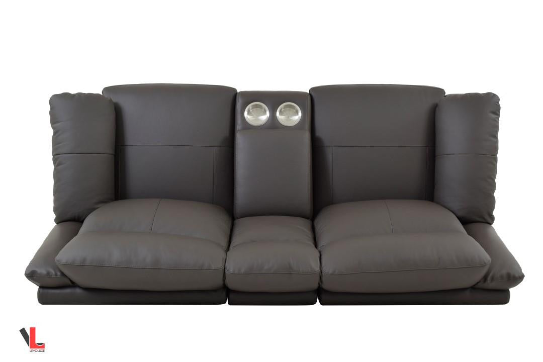 Volo Espresso Leather Reclining Loveseat With Center Console Levoluxe