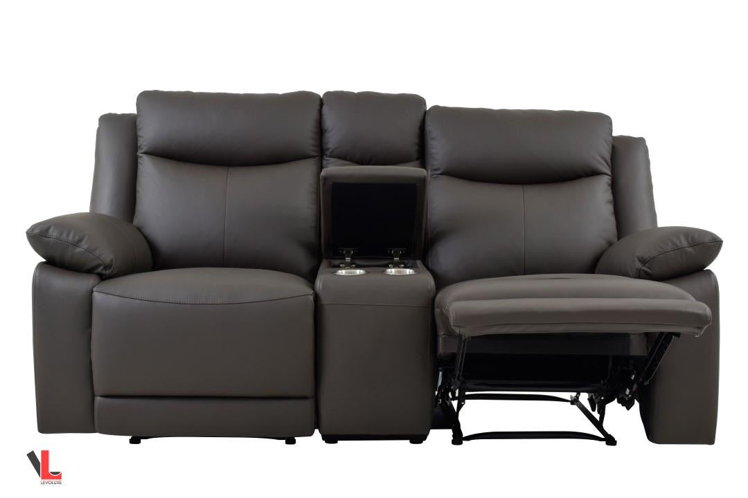 gliding leather grain loveseat top recliner home console porter with product center ramsey garden recliners
