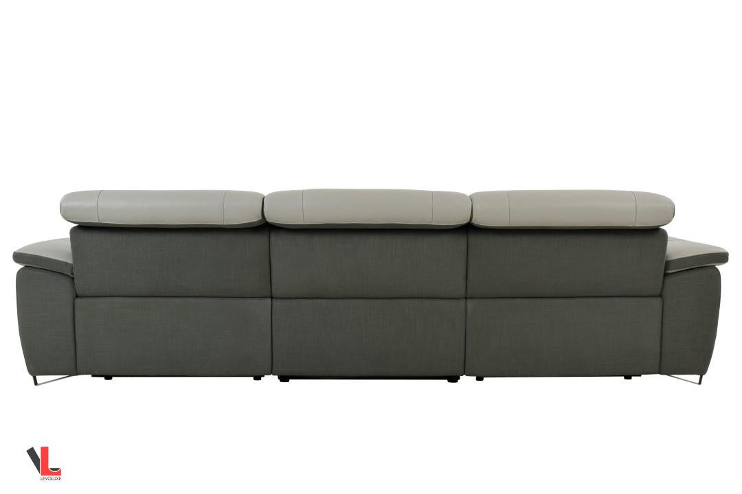 Aura Top Grain Leather Light Grey Power Reclining Sofa And Loveseat Levoluxe