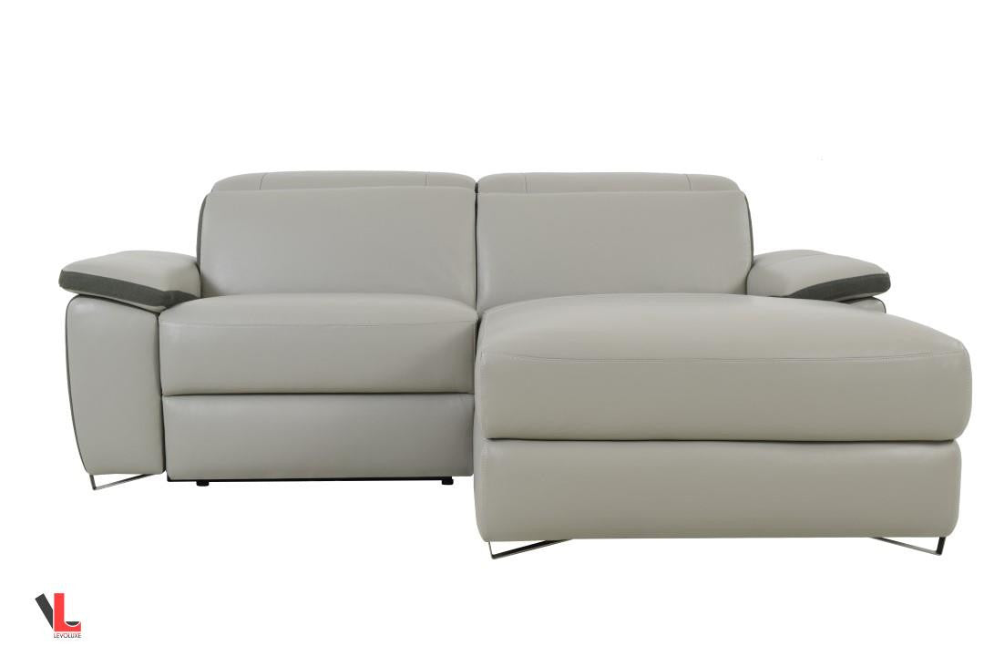 Ordinaire Aura Top Grain Leather Light Grey Power Reclining Small Sectional Sofa With  Right Facing Chaise