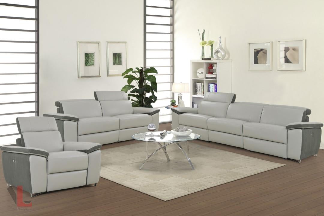 Aura Light Grey Top Grain Leather Power Reclining Sofa , Loveseat And Chair  By Levoluxe