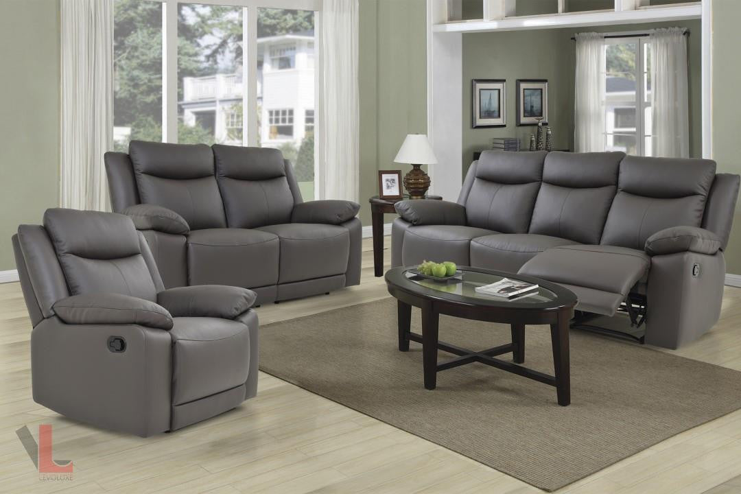 Volo Espresso Leather Reclining Sofa Set Levoluxe