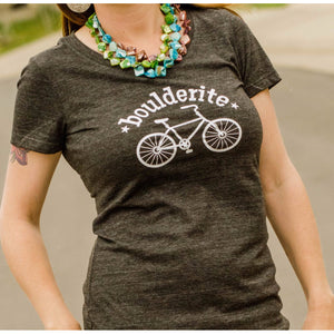 Boulderite Womens Boulder Colorado Charcoal Tshirt-Hens and Chicas
