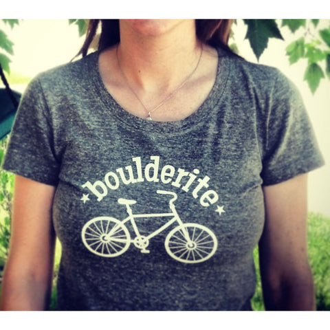 Boulderite womens Boulder Colorado heather grey Tshirt-Hens and Chicas