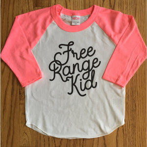 Free Range Kid Tshirt for Free Range Children and Toddlers. Pink sleeve baseball tee.-Hens and Chicas
