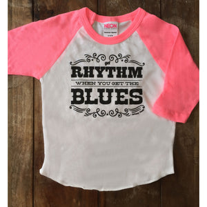 Get Rhythm When You Get the Blues Johnny Cash T-Shirt for kids-Hens and Chicas