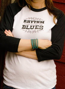 Get Rhythm When You Get the Blues Womens Johnny Cash Tshirt.-Hens and Chicas