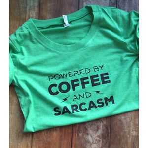 Powered by Coffee and Sarcasm Womens Tshirt-Hens and Chicas