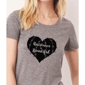 Resistance is Beautiful womens tshirt, She Persisted tshirt, Cactus Heart, Succulent Graphic Tee-Hens and Chicas