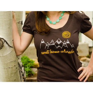 Sweet Home Colorado graphic tshirt - women's brown scoop neck tee with Colorado mountains and sun.-Hens and Chicas