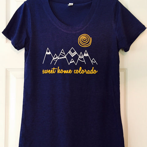 Sweet Home Colorado Women's Tshirt Navy Blue-Hens and Chicas