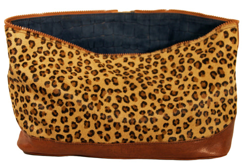 Jessica Tote Bag- Reversible Cover Attachment -Blue suede/Leopard Hair-On