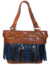 Attachable Blue Leather Fringe for Jessica Tote Bag