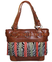 Attachable Leather Zebra Fringe for Jessica Tote Bag