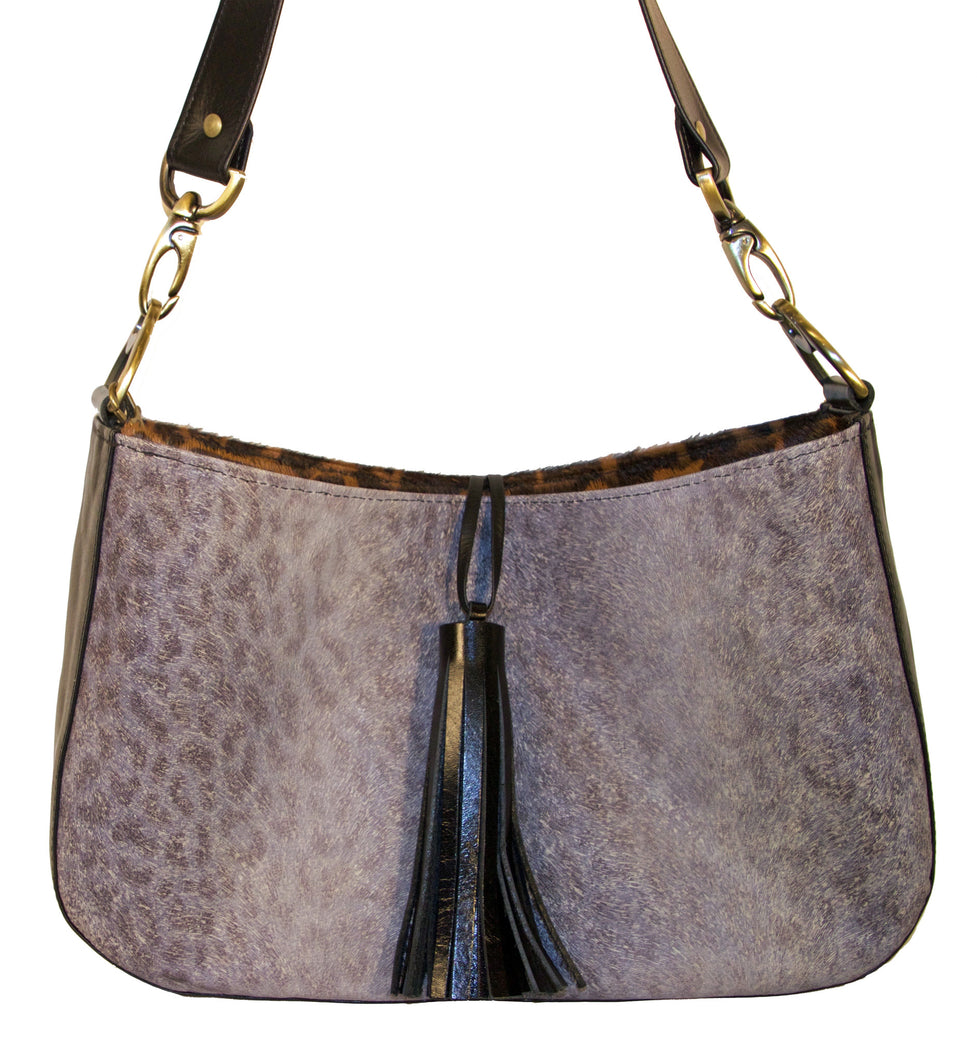 Mia Reversible Hobo-Giraffe Print Hair-On/ Grey Embossed Leather Animal Print