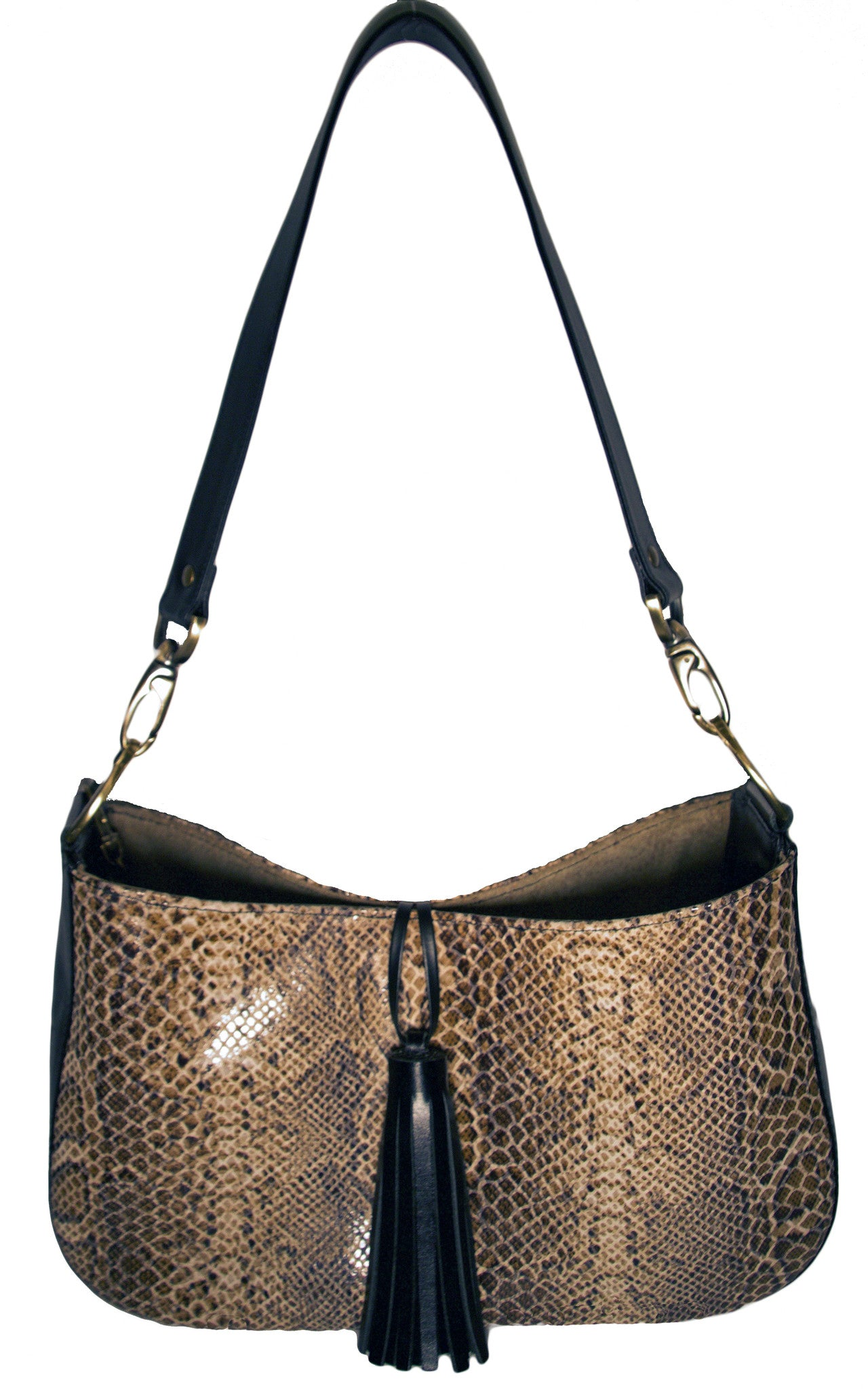 Mia Reversible Hobo- Taupe Glossy Snake Print/ Olive Paisley Dot Suede