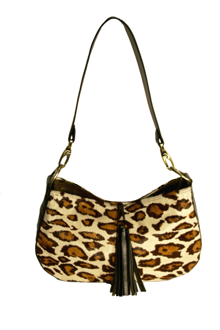 Mia Reversible Hobo- Distressed Camo Leather/Snow Leopard Print Hair-On-Hide
