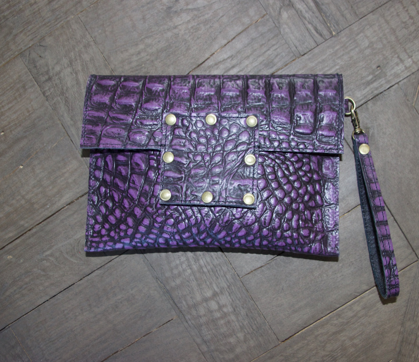 Kylie Clutch- Alligator Embossed Leather- Purple