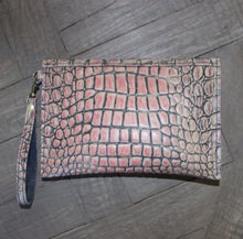 Kylie Clutch- Alligator Embossed Leather- Cream with Pink