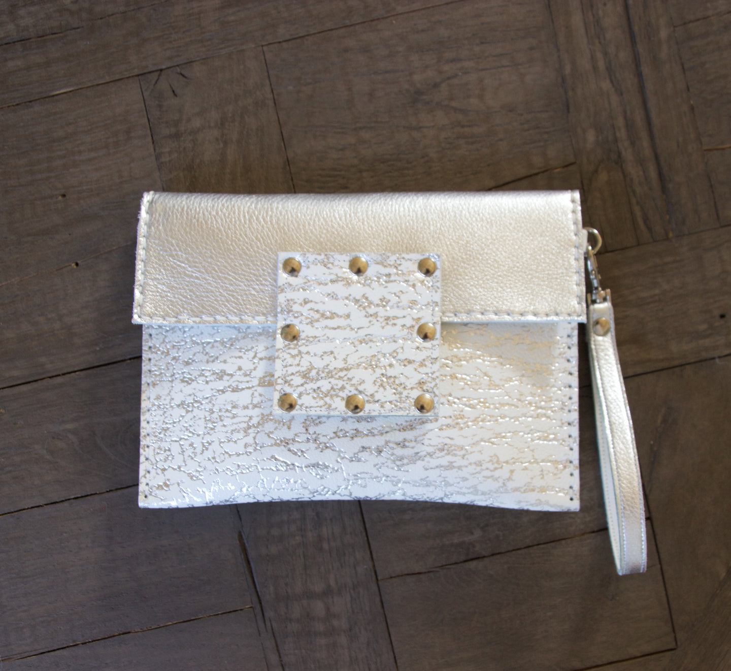 Kylie Clutch Embossed Leather- White w/ Silver