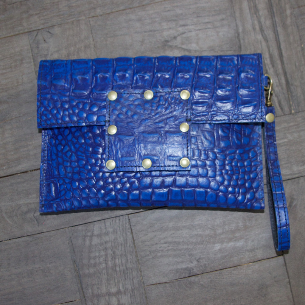 Kylie Clutch- Alligator Embossed Leather- Blue