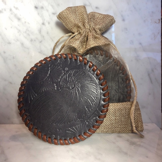 Leather Embossed Coaster Set