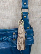 Tassel Key Ring Bag Clip- Beige Embossed Leather Snake Print- Antique Brass Hardware