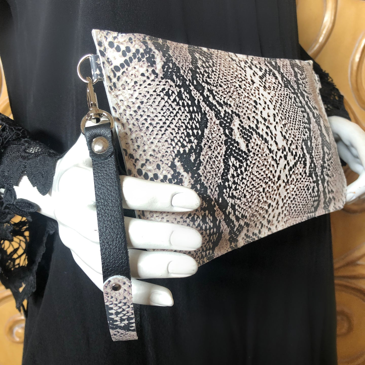 Abbey Convertible Clutch- Taupe & Black