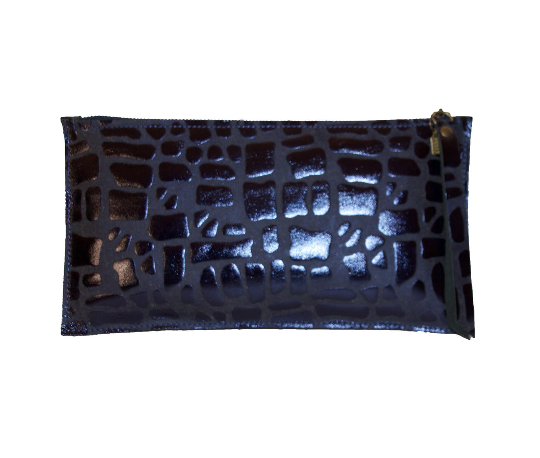 Abbey Pillow Clutch- Metallic Blue, Champagne or Bronze Embossed Giraffe Leather