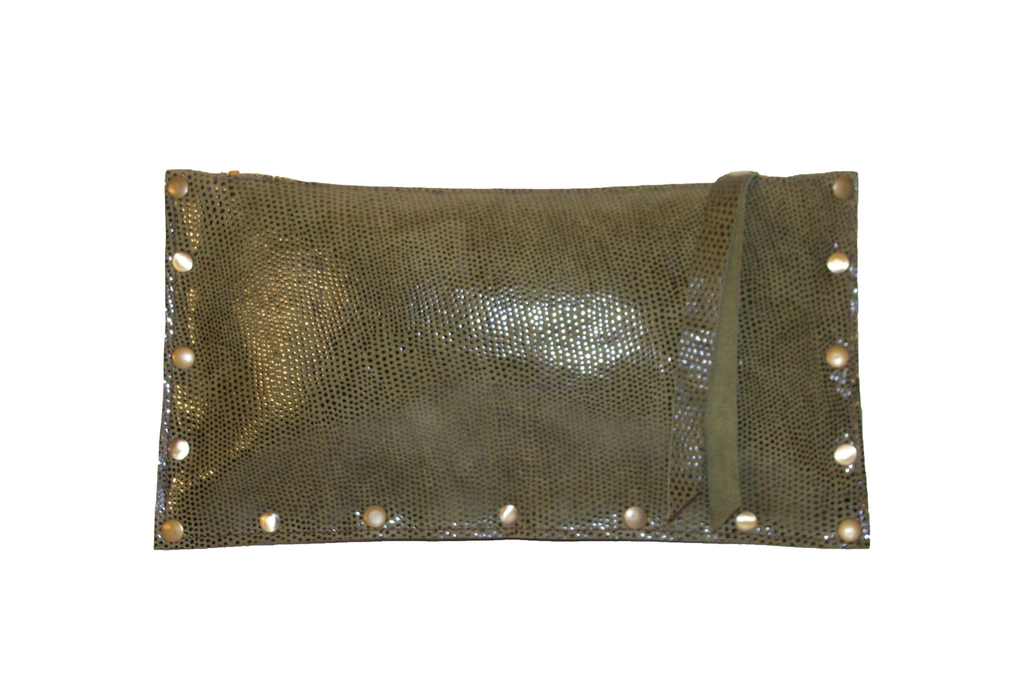 Abbey Pillow Clutch- Studded Green Glossy Dot Leather