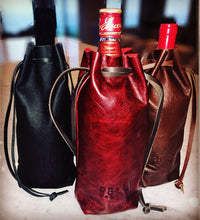 Wines and Spirits Leather Drawstring Bag