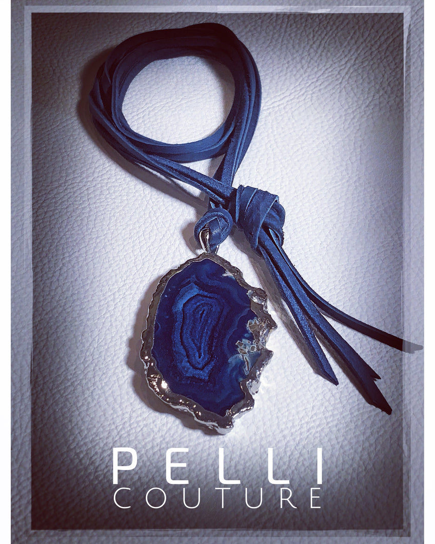 Agate Slice On Blue Deerskin Leather Necklace