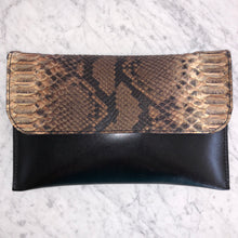 Python Convertible Clutch- Brown &Cream