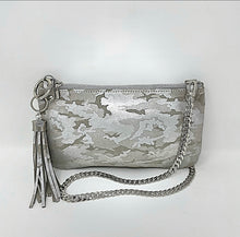 Gray Camouflage Convertible Leather Clutch with Tassel Keychain Bag Clip