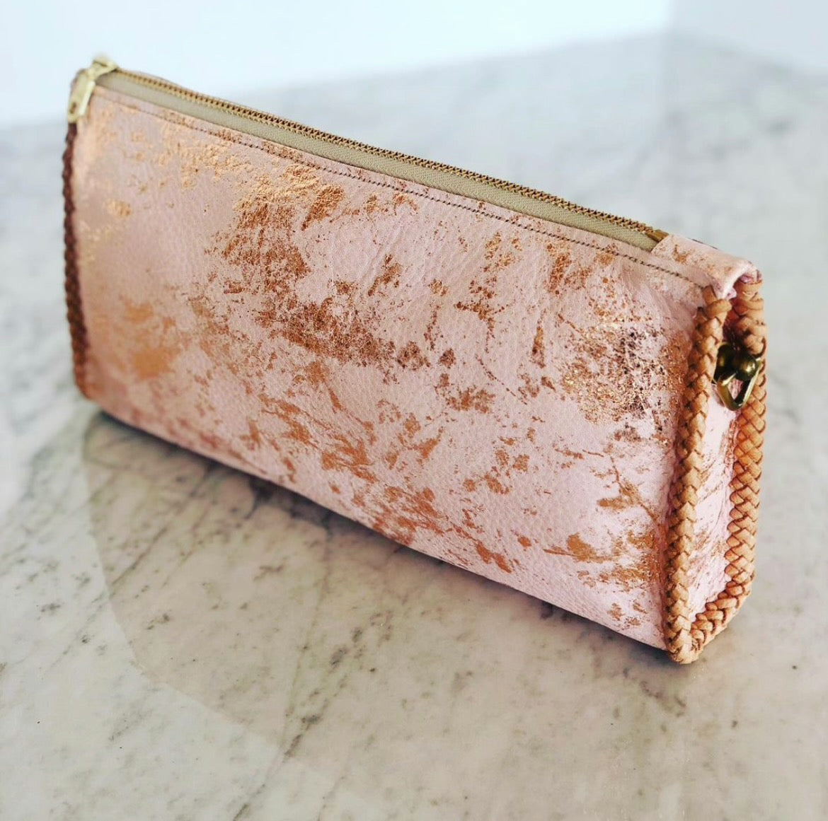 Pink and Gold Gusset Convertible Clutch