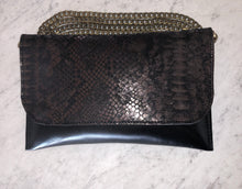 Python Printed & Embossed Leather Convertible Clutch - Bronze