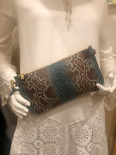 Abbey Convertible Clutch- Turquoise & Brown