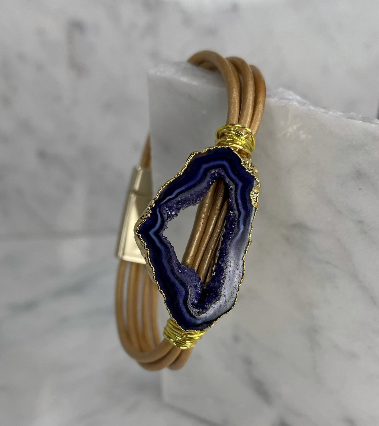 Sliced Agate Leather Bracelet