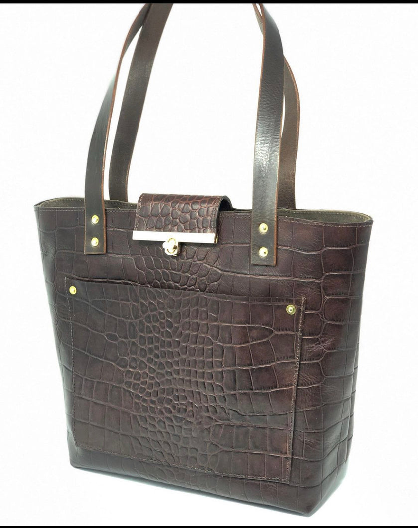 Croc Embossed Leather Tote- Brown
