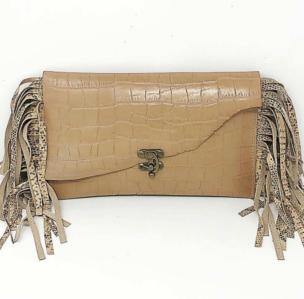Croc Embossed Leather Fringe Clutch