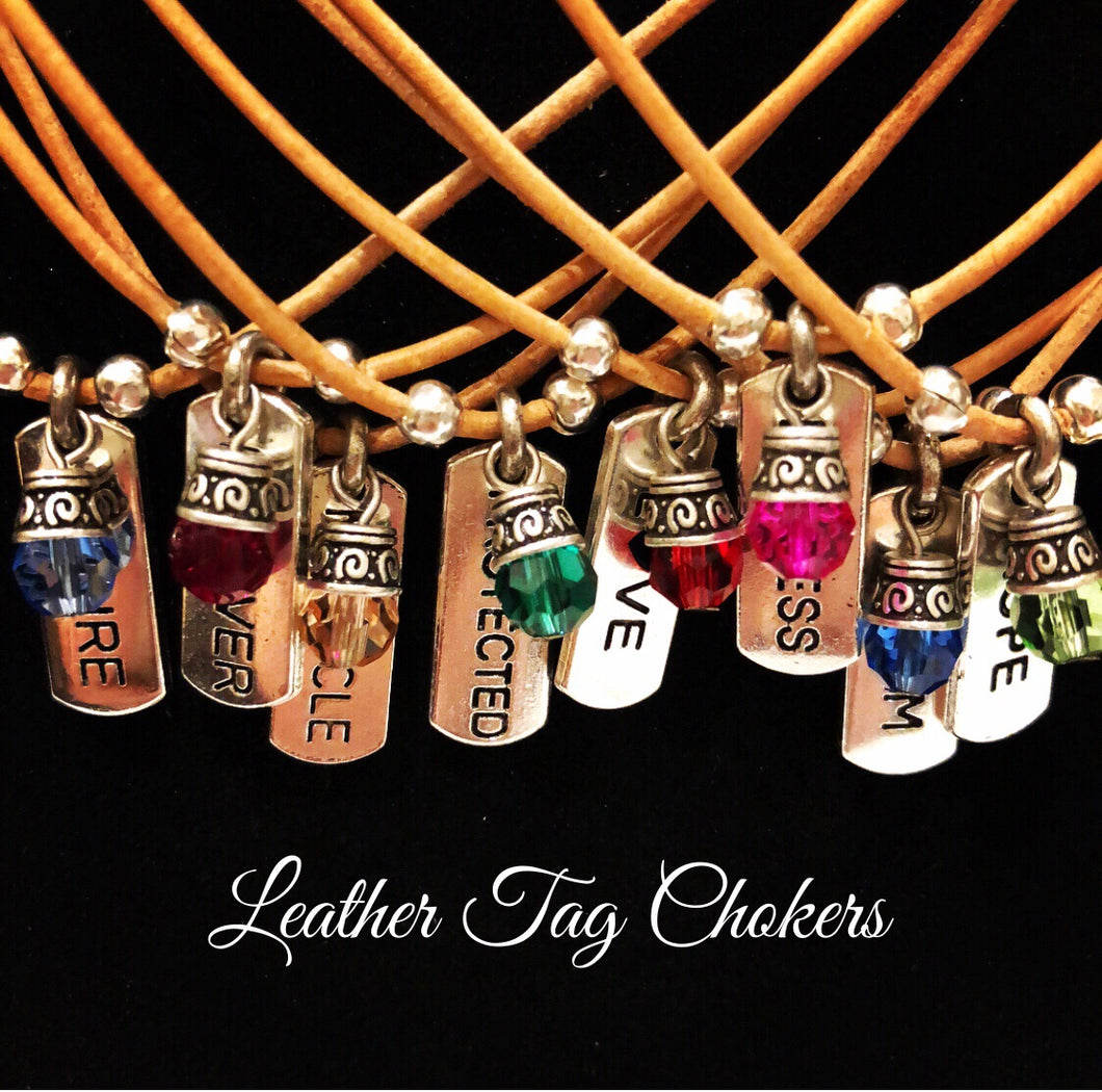 Leather Tag Chokers