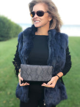 Python Embossed Convertible Clutch In Gray