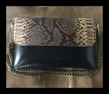 Python Printed & Embossed Leather Convertible Clutch- Black and White
