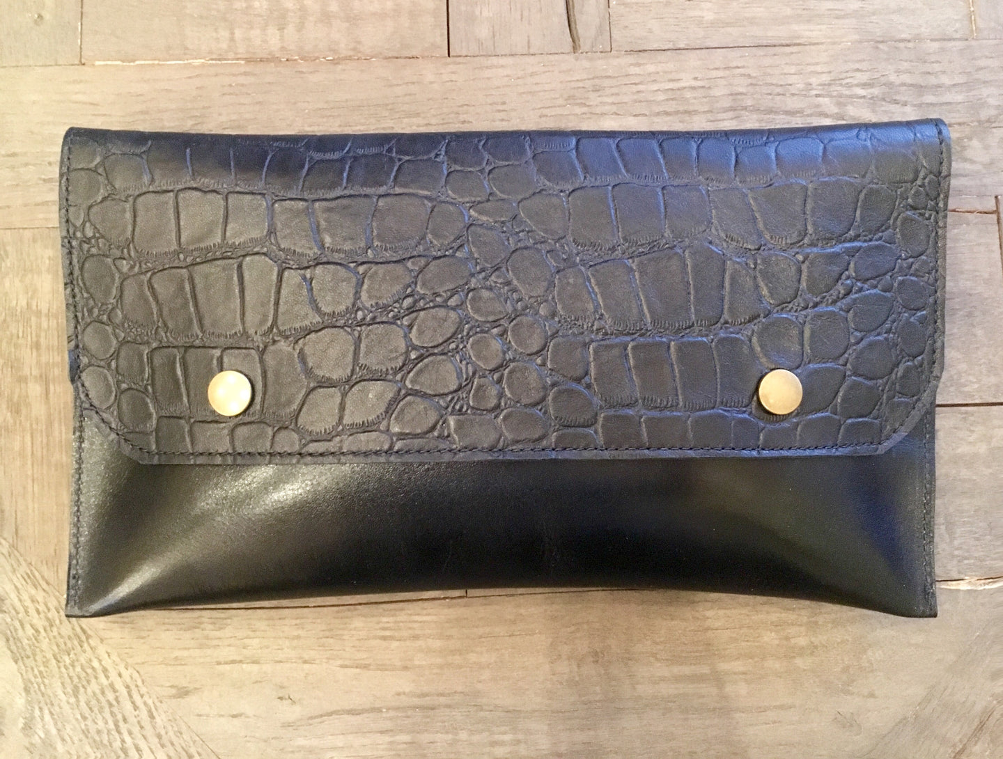 Black Leather Croco Embossed Flap Clutch
