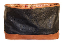 Jessica Tote Bag Reversible Cover Attachment- Black Embossed Ostrich/ Multi Color Sealife