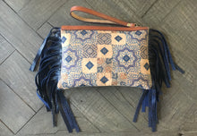 Justine Wristlet- Mosaic Cork and Blue Leather Snake Embossed Fringe